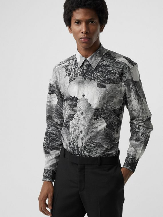 Dreamscape Print Cotton Silk Shirt in Black