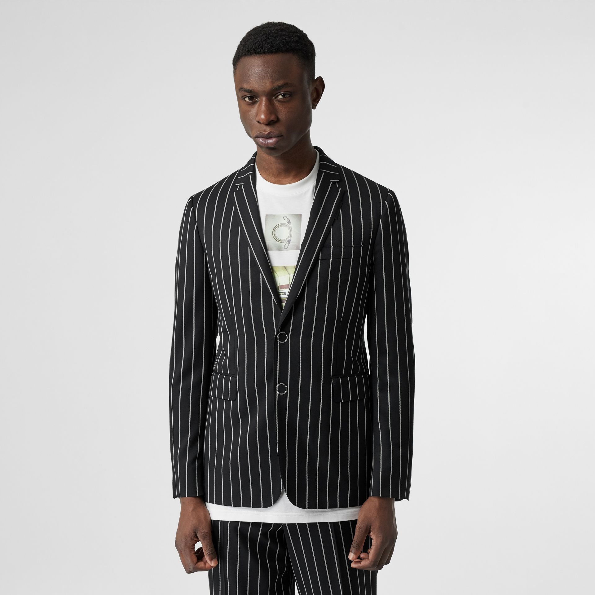 Slim Fit Press-stud Pinstriped Wool Tailored Jacket in Black - Men | Burberry - gallery image 5