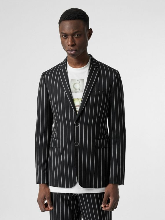 Slim Fit Press-stud Pinstriped Wool Tailored Jacket in Black