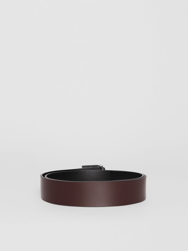 Reversible Monogram Motif Leather Belt in Oxblood - Men | Burberry United States - cell image 3