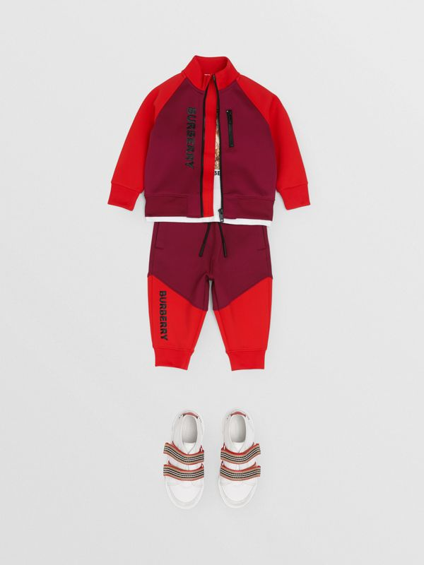 Logo Print Two-tone Stretch Jersey Trackpants in Dark Burgundy - Children | Burberry - cell image 2