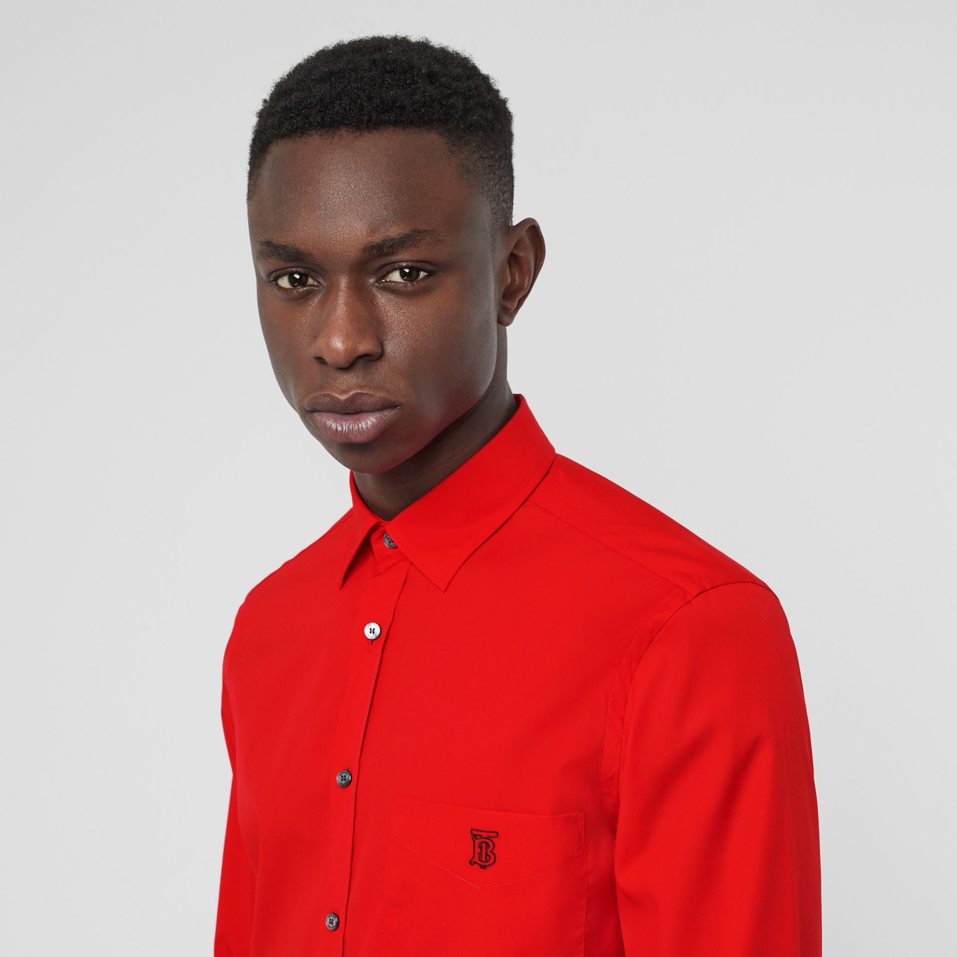 Monogram Motif Stretch Cotton Poplin Shirt in Bright Red - Men | Burberry - gallery image 1