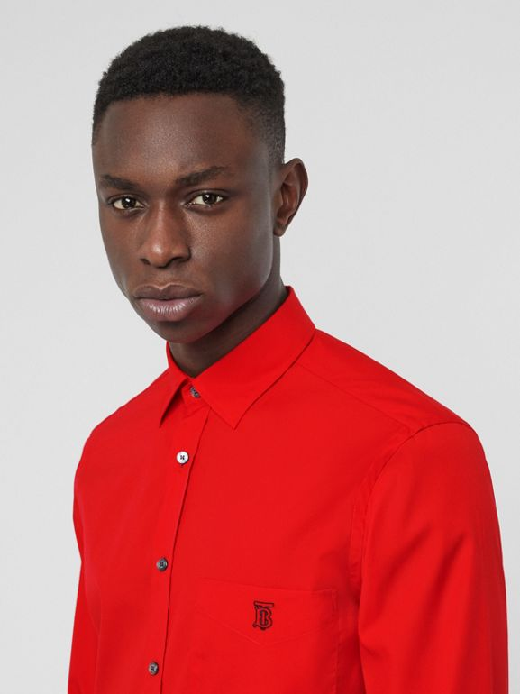 Monogram Motif Stretch Cotton Poplin Shirt in Bright Red - Men | Burberry - cell image 1