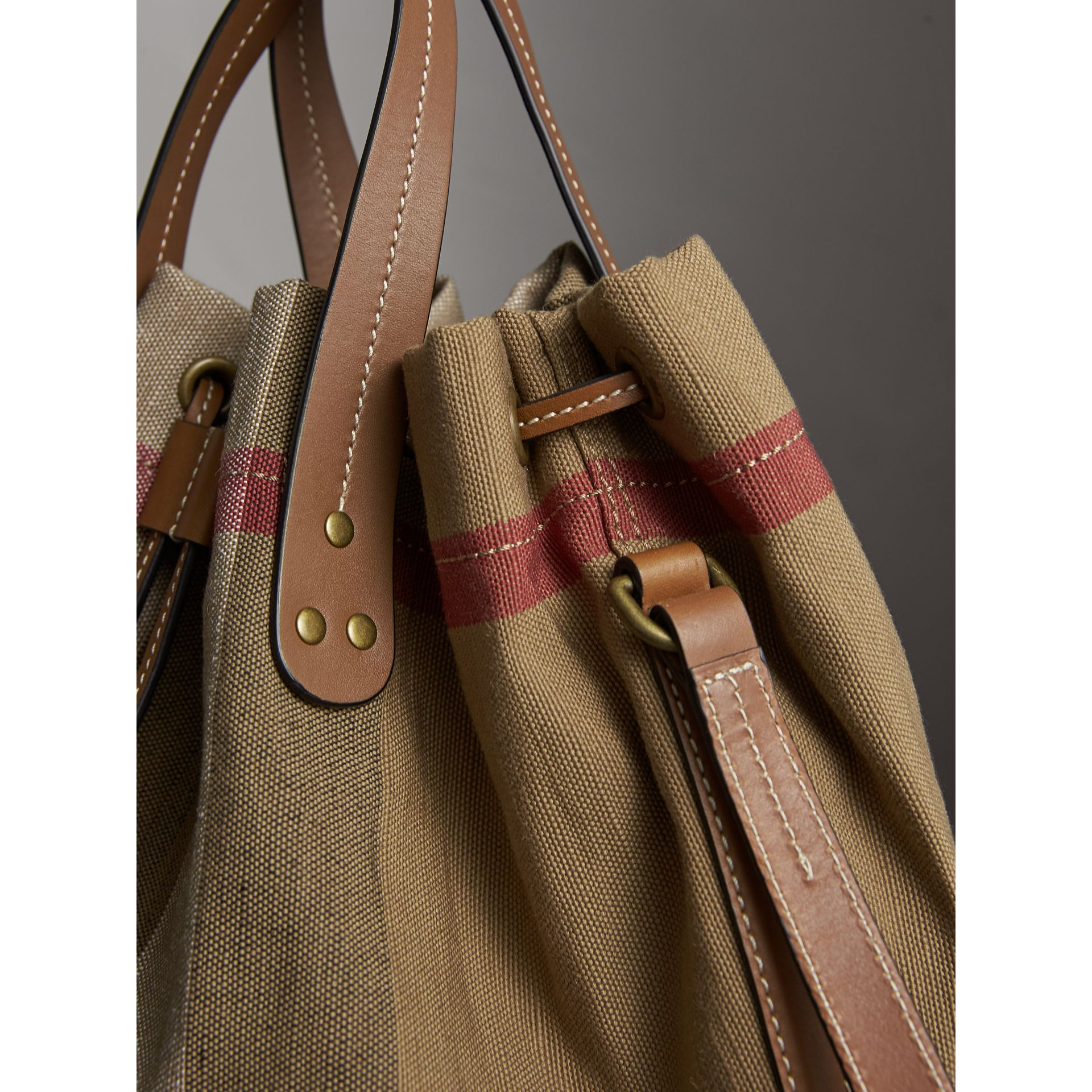 Medium Canvas Check Bucket Bag in Tan - Women | Burberry Hong Kong - gallery image 6