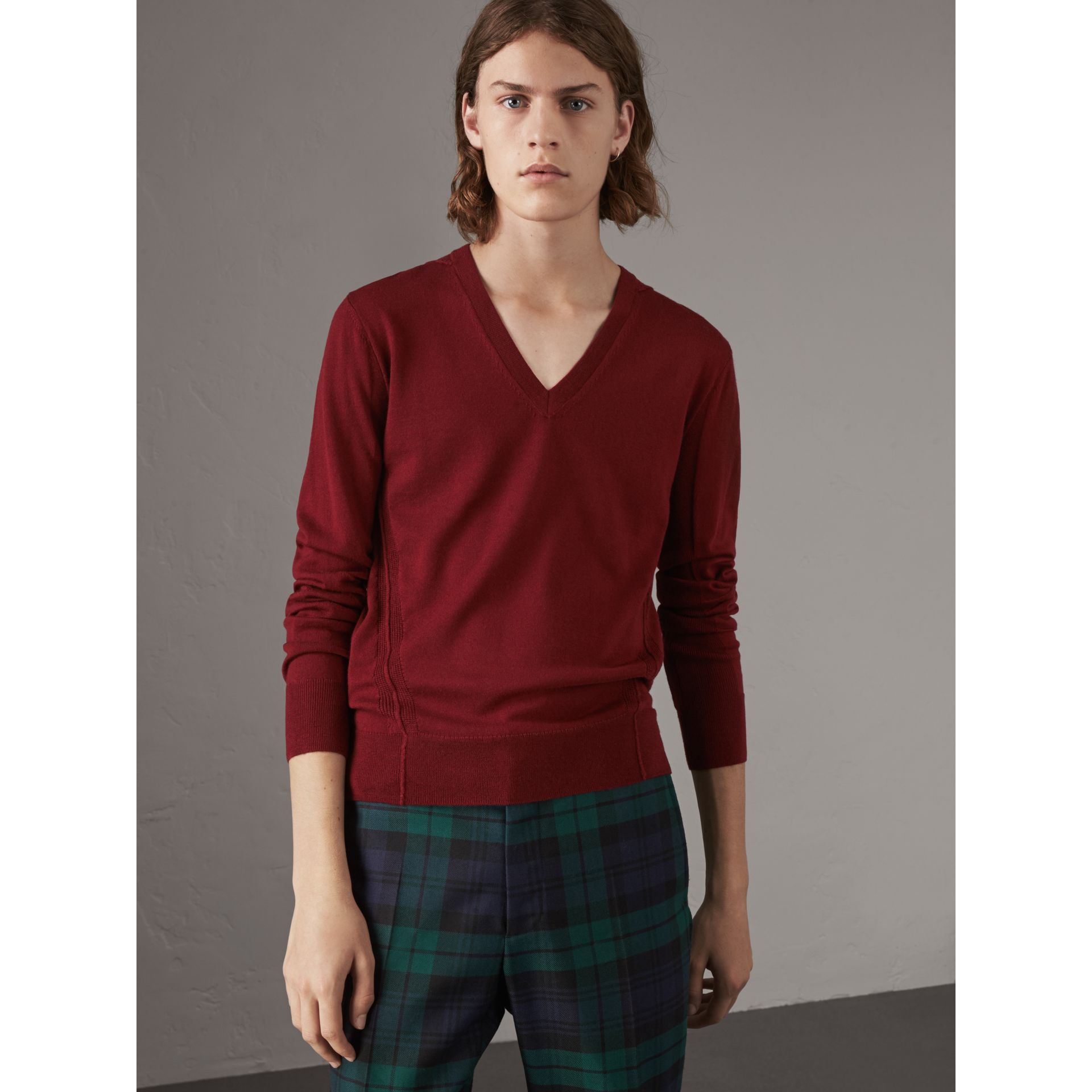 Check Detail Merino Wool V-neck Sweater in Burgundy - Men | Burberry - gallery image 4