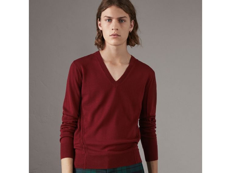 Check Detail Merino Wool V-neck Sweater in Burgundy - Men | Burberry - cell image 4