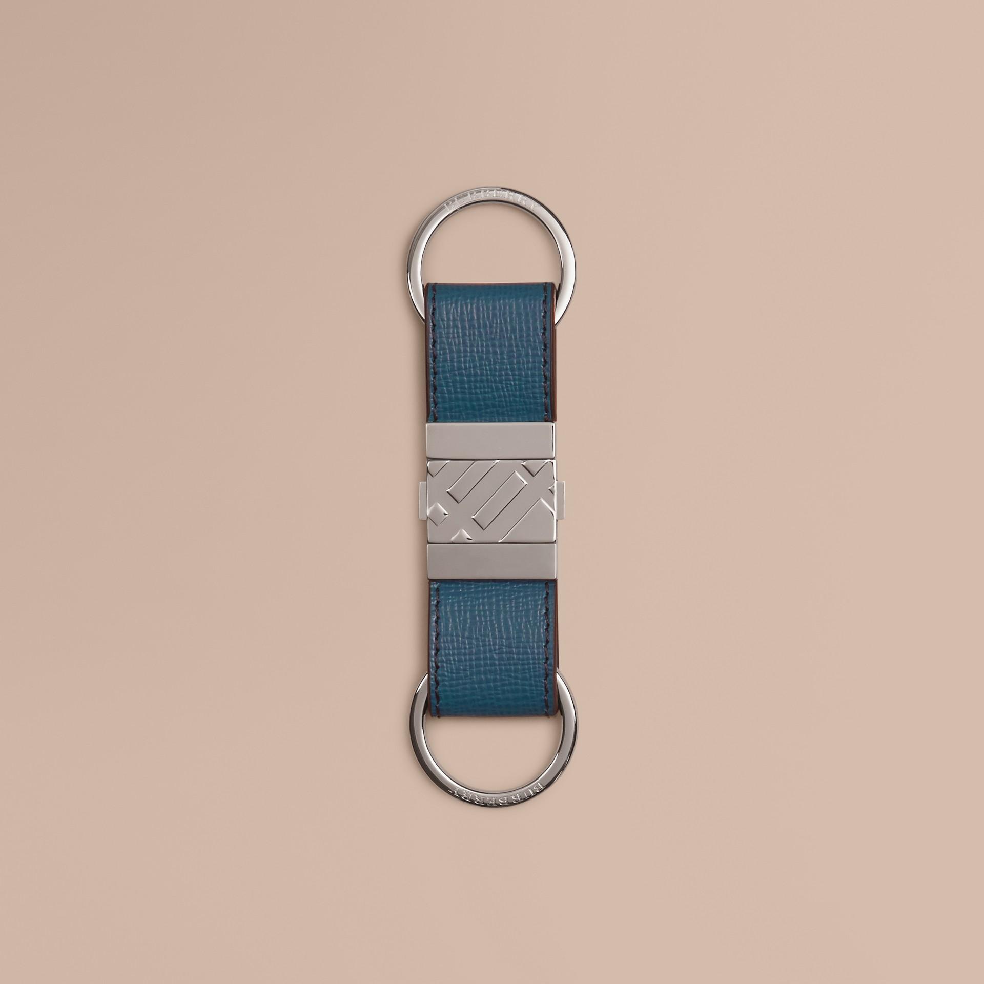 Mineralblau Valet-Schlüsselring aus London-Leder Mineralblau - Galerie-Bild 1