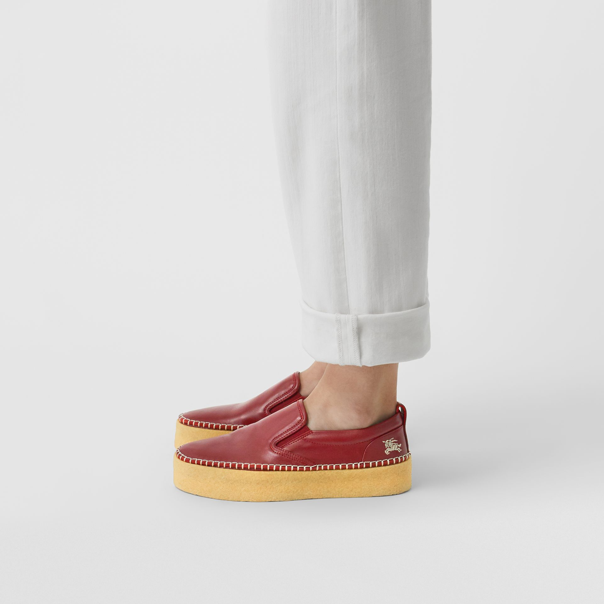 Leather Slip-on Sneakers in Bordeaux - Women | Burberry United States - gallery image 2