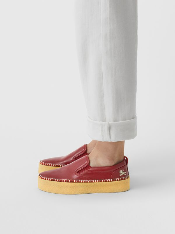 Leather Slip-on Sneakers in Bordeaux - Women | Burberry United States - cell image 2