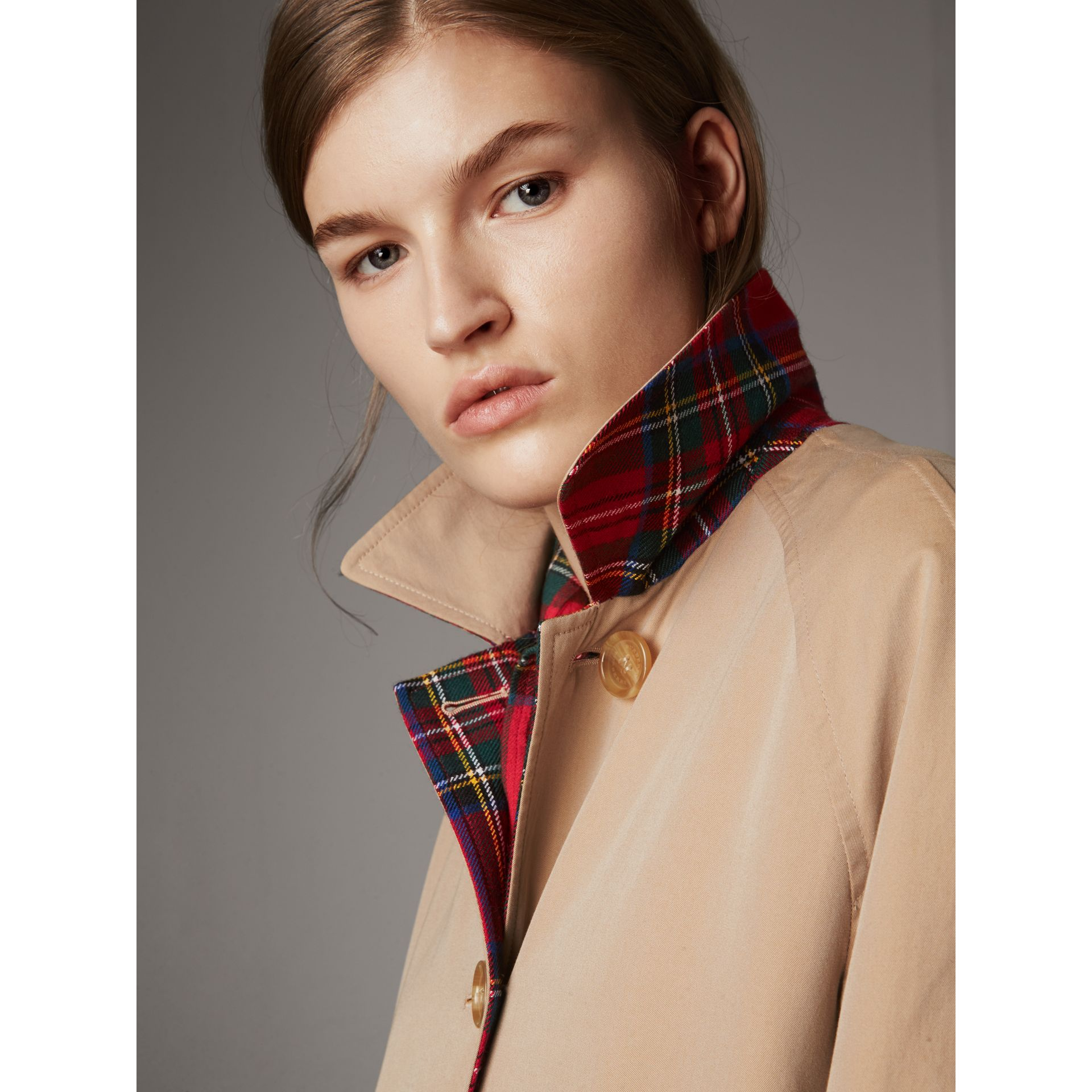Reversible Gabardine and Tartan Wool Car Coat in Honey - Women | Burberry Australia - gallery image 6