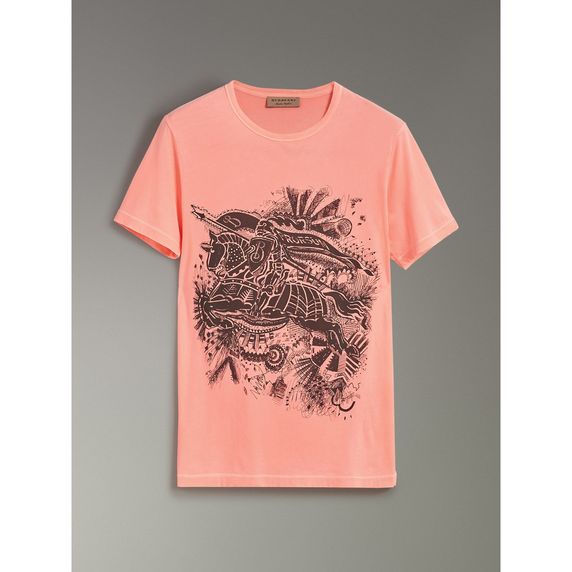 Doodle and Equestrian Knight Print Cotton T-shirt in Bright Clementine - Men | Burberry - gallery image 3