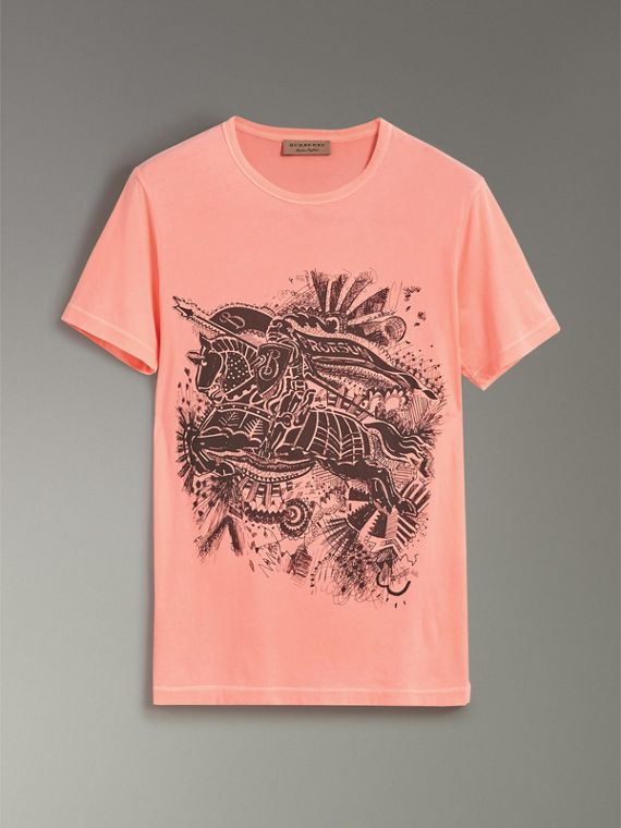 Doodle and Equestrian Knight Print Cotton T-shirt in Bright Clementine - Men | Burberry - cell image 3