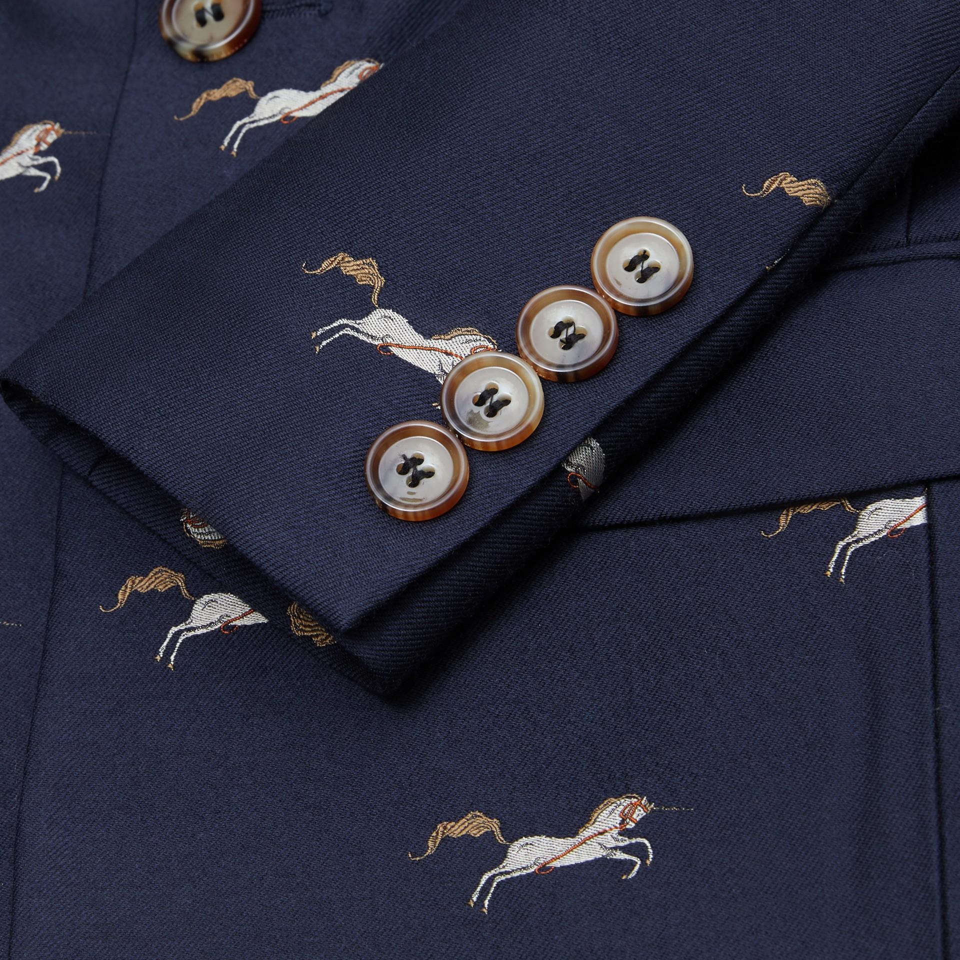 Unicorn Wool Silk Jacquard Blazer in Navy   Burberry United Kingdom - gallery image 1