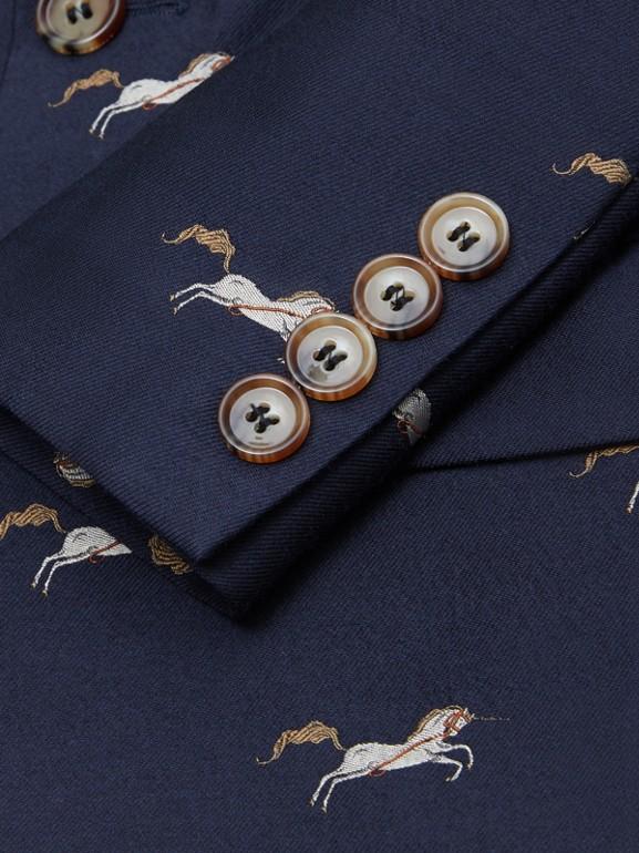 Unicorn Wool Silk Jacquard Blazer in Navy   Burberry United Kingdom - cell image 1