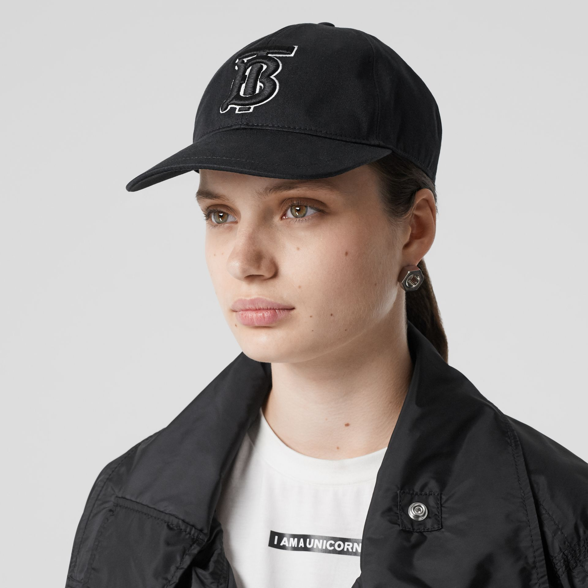Monogram Motif Baseball Cap in Black / Black | Burberry - gallery image 2