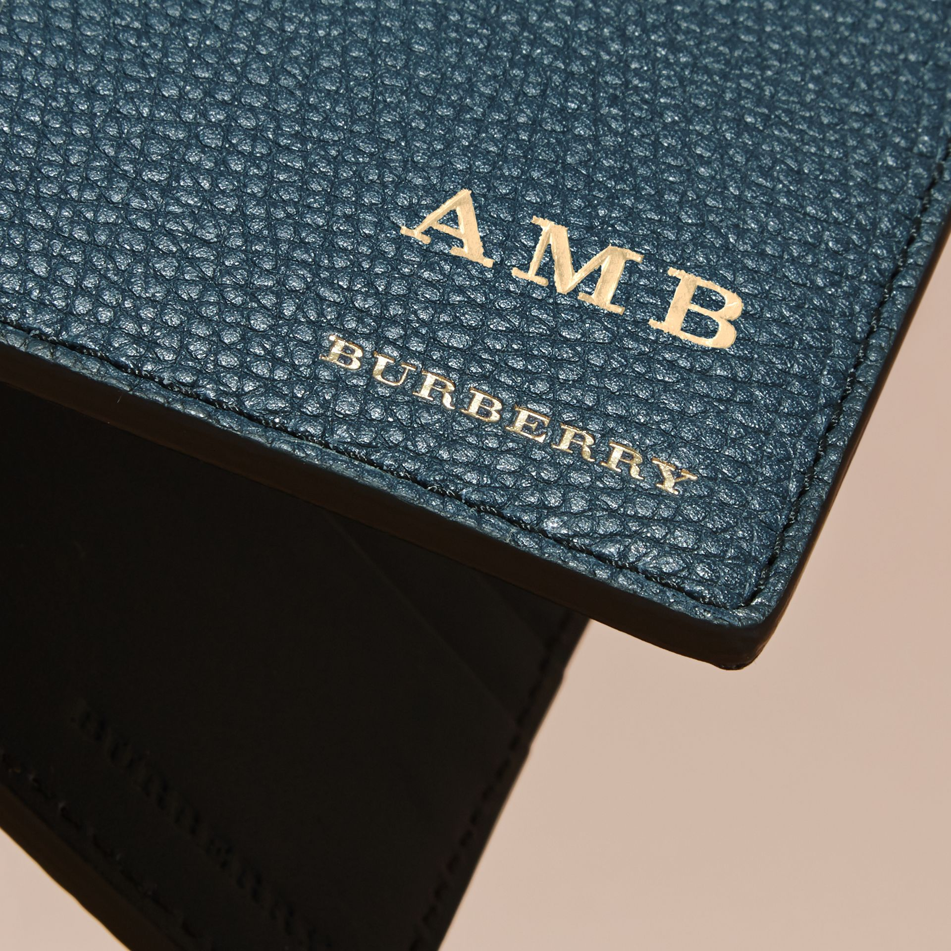Leather and House Check International Bifold Wallet in Storm Blue | Burberry - gallery image 7