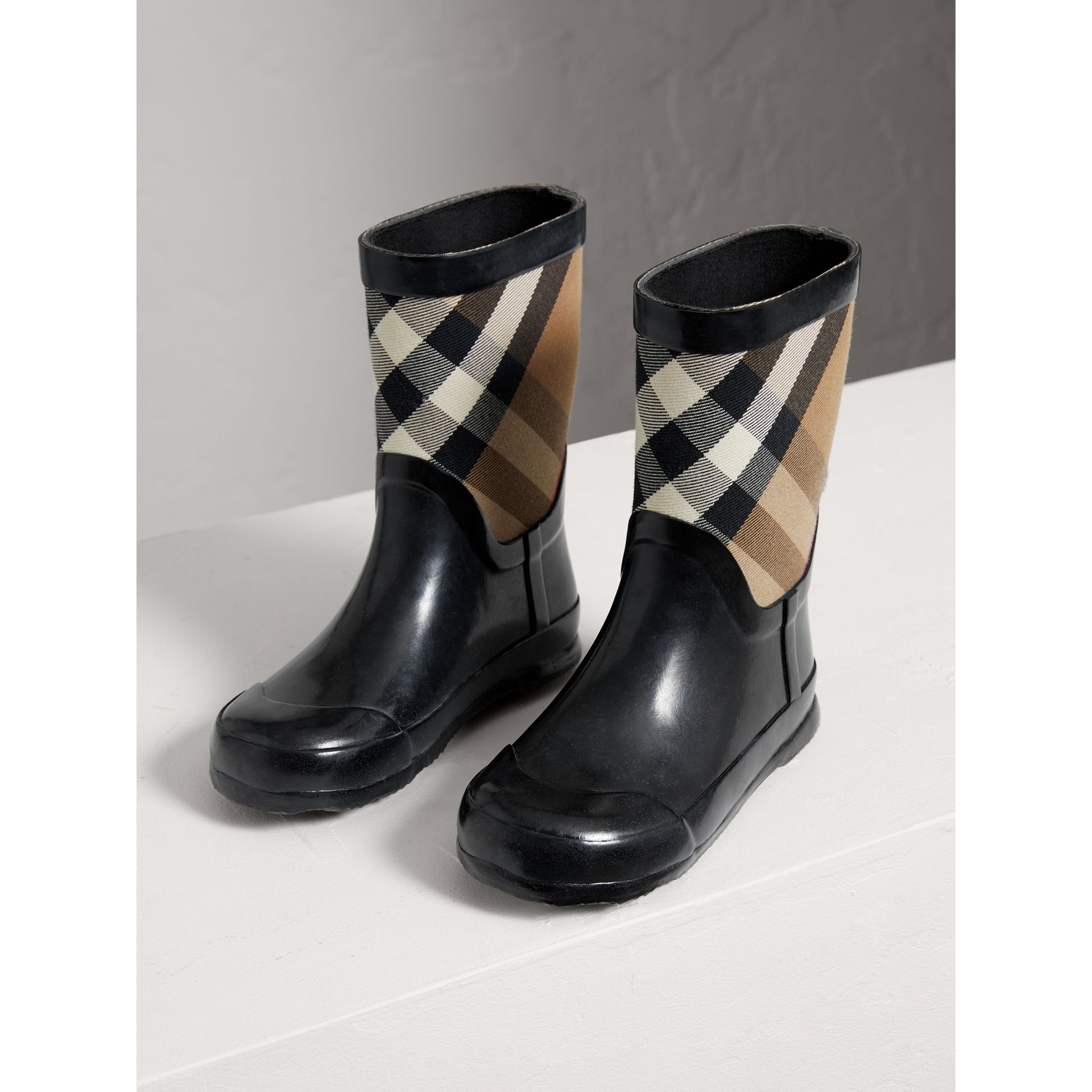 House Check Panel Rain Boots in Black | Burberry Australia - gallery image 3