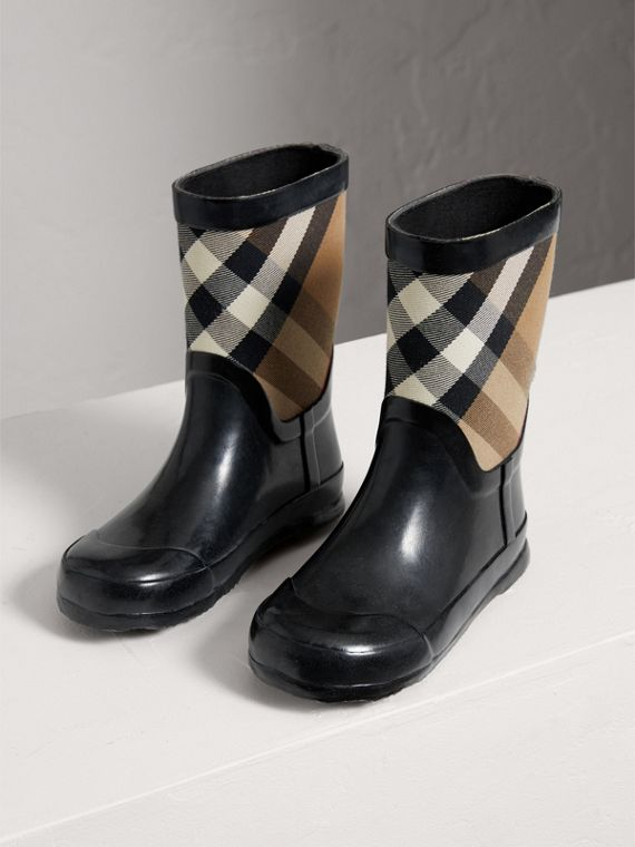 House Check Panel Rain Boots in Black | Burberry - cell image 3