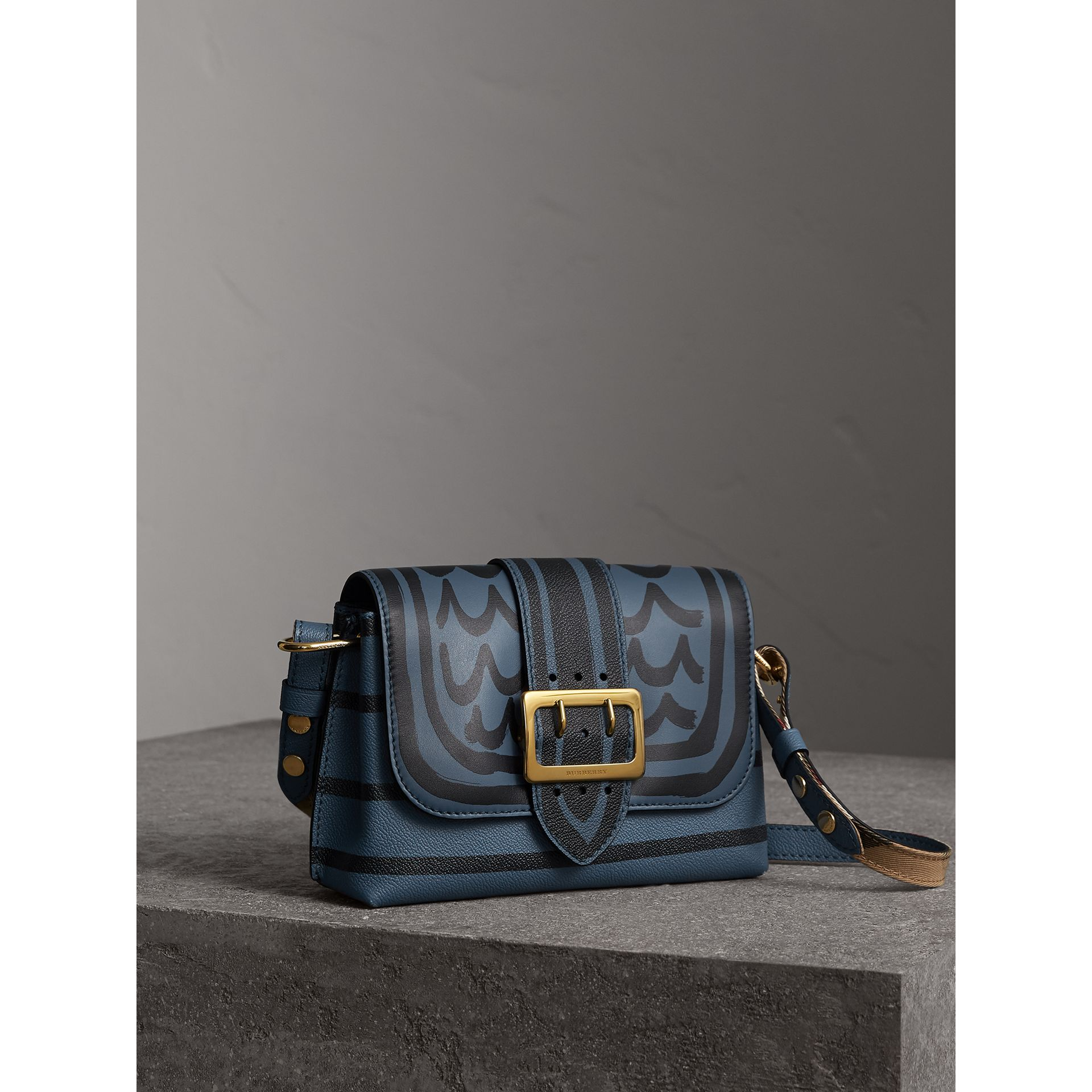 The Buckle Crossbody Bag in Trompe L'oeil Leather in Steel Blue - Women | Burberry - gallery image 7