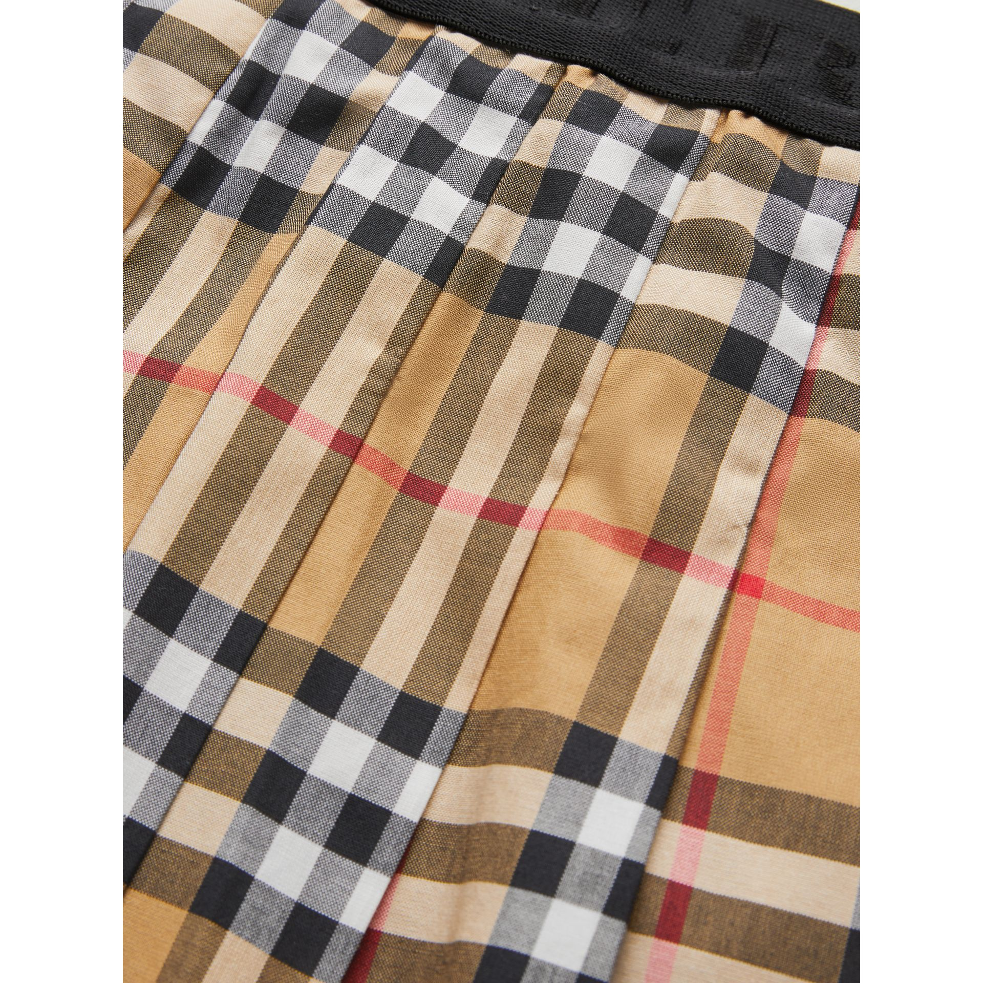 Pleated Vintage Check Cotton Skirt in Antique Yellow | Burberry - gallery image 1