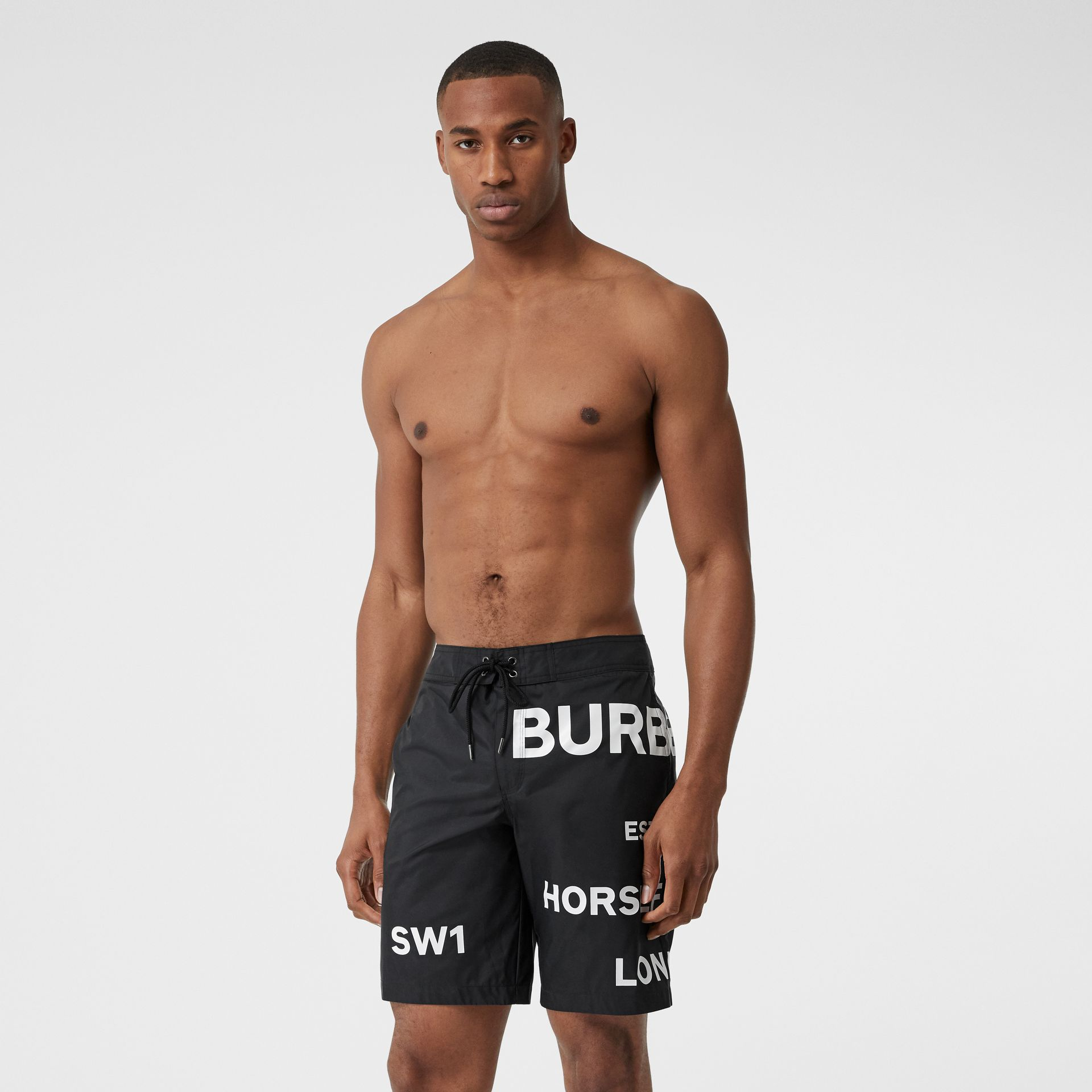 Horseferry Print Swim Shorts in Black - Men | Burberry - gallery image 0