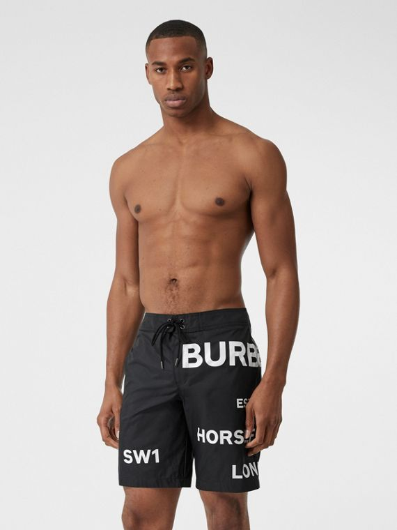 Horseferry Print Swim Shorts in Black
