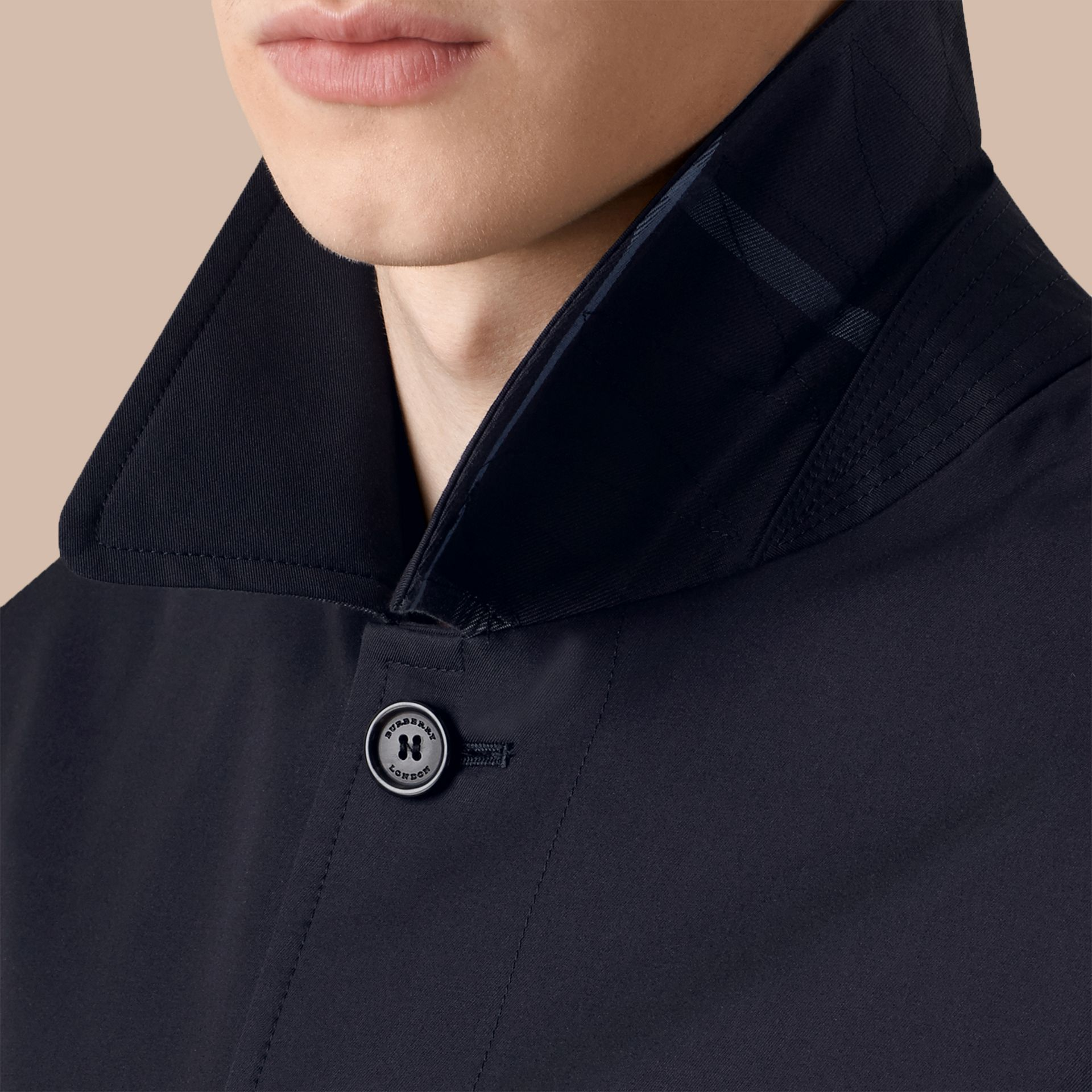 Cotton Gabardine Car Coat in Navy - Men | Burberry - gallery image 5