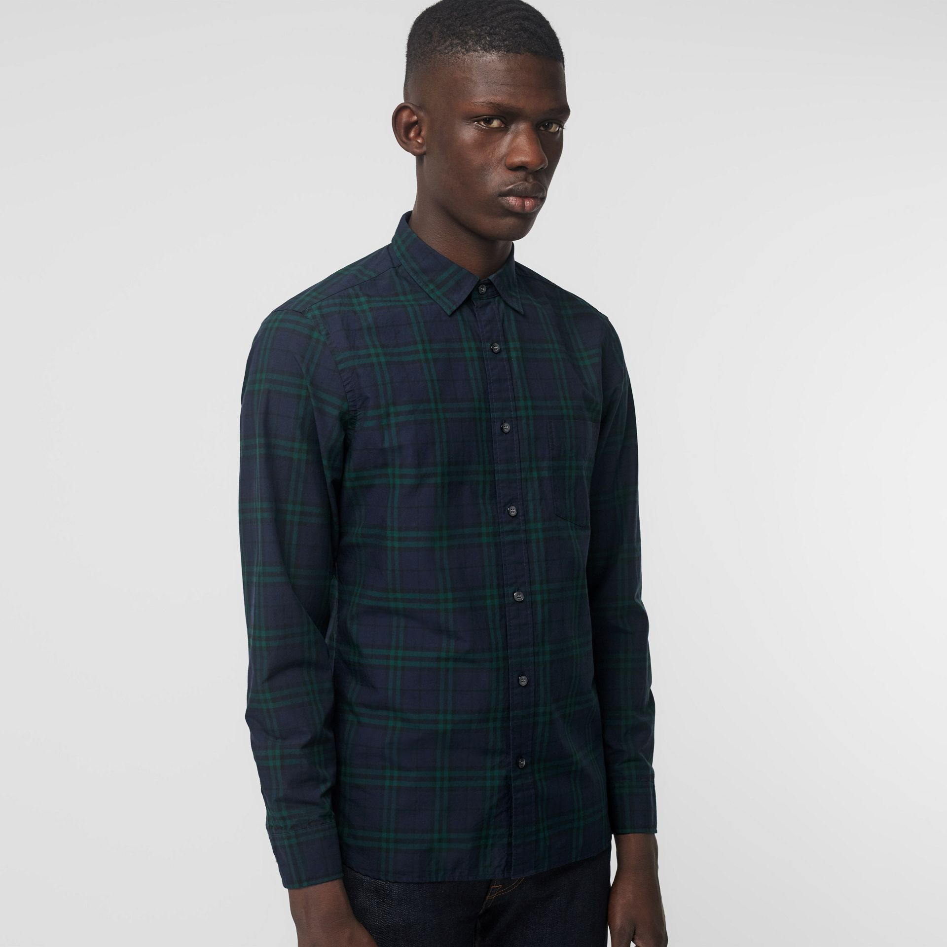 Check Cotton Shirt in Ink Blue - Men | Burberry - gallery image 0