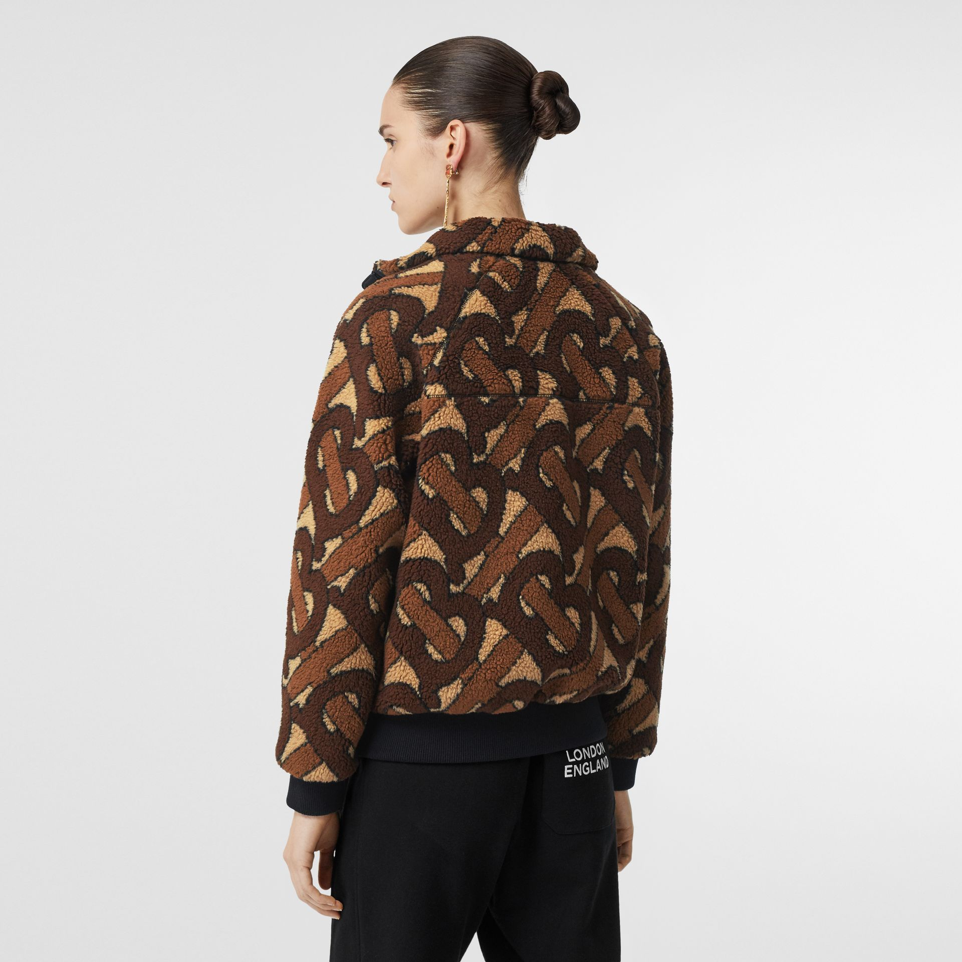 Monogram Fleece Jacquard Jacket in Bridle Brown - Women | Burberry United States - gallery image 2