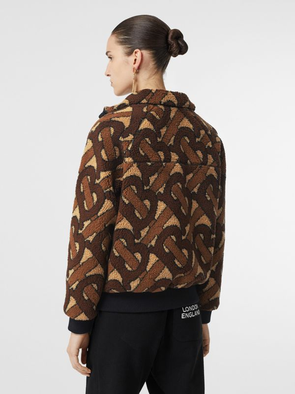 Monogram Fleece Jacquard Jacket in Bridle Brown - Women | Burberry United States - cell image 2