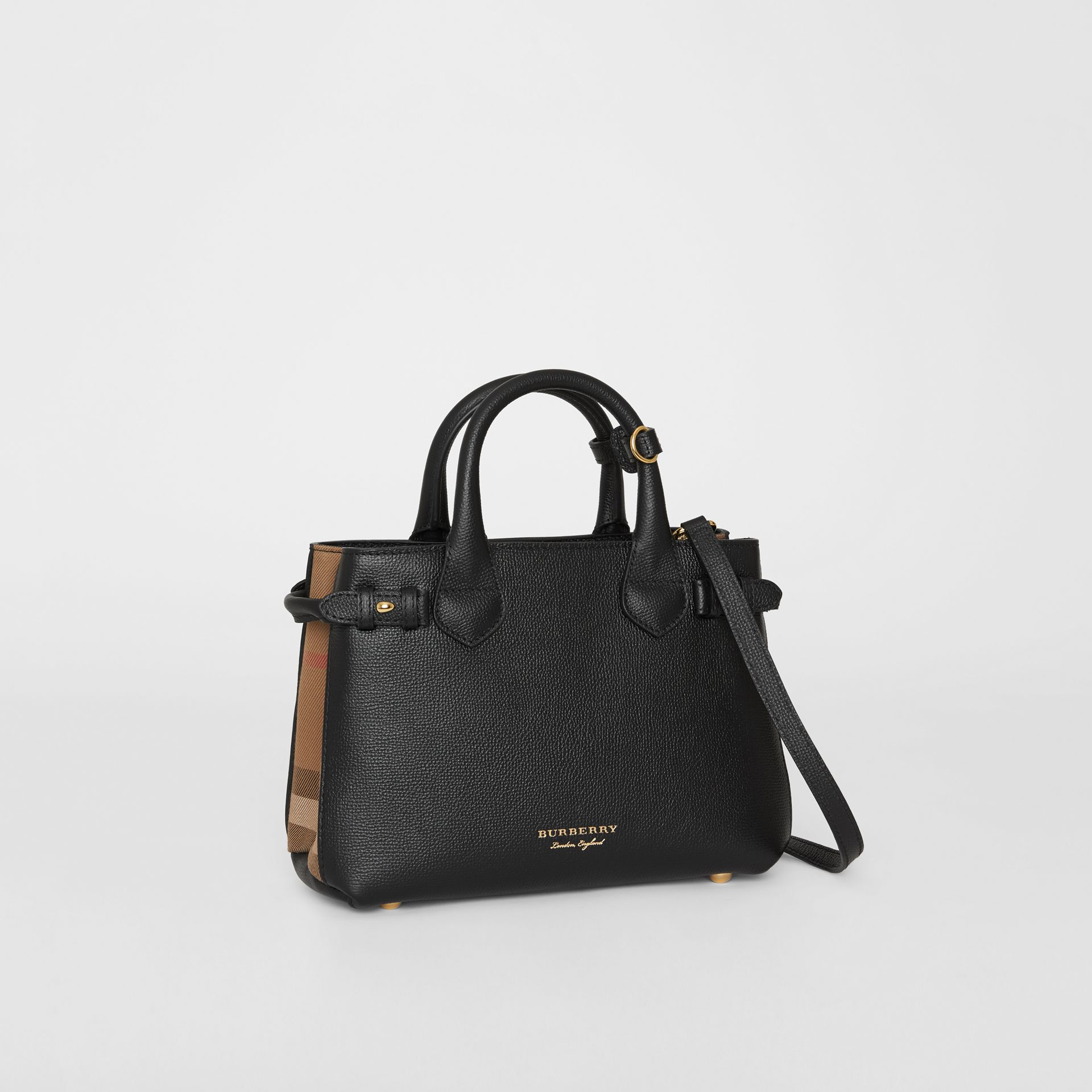 The Small Banner in Leather and House Check in Black - Women | Burberry United Kingdom - gallery image 6