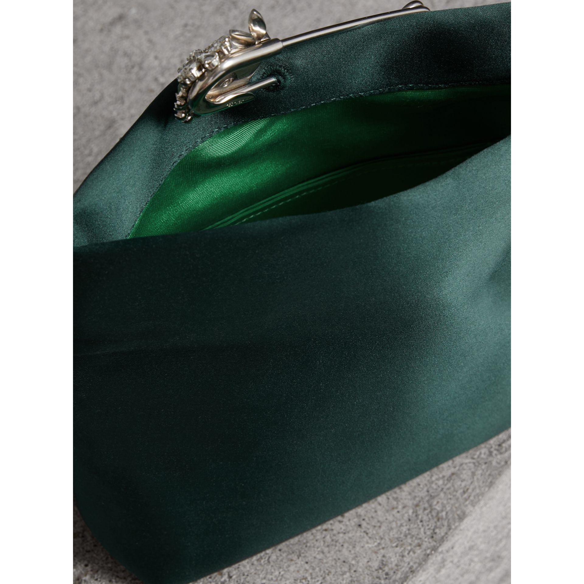 The Small Pin Clutch in Satin in Dark Forest Green - Women | Burberry - gallery image 5