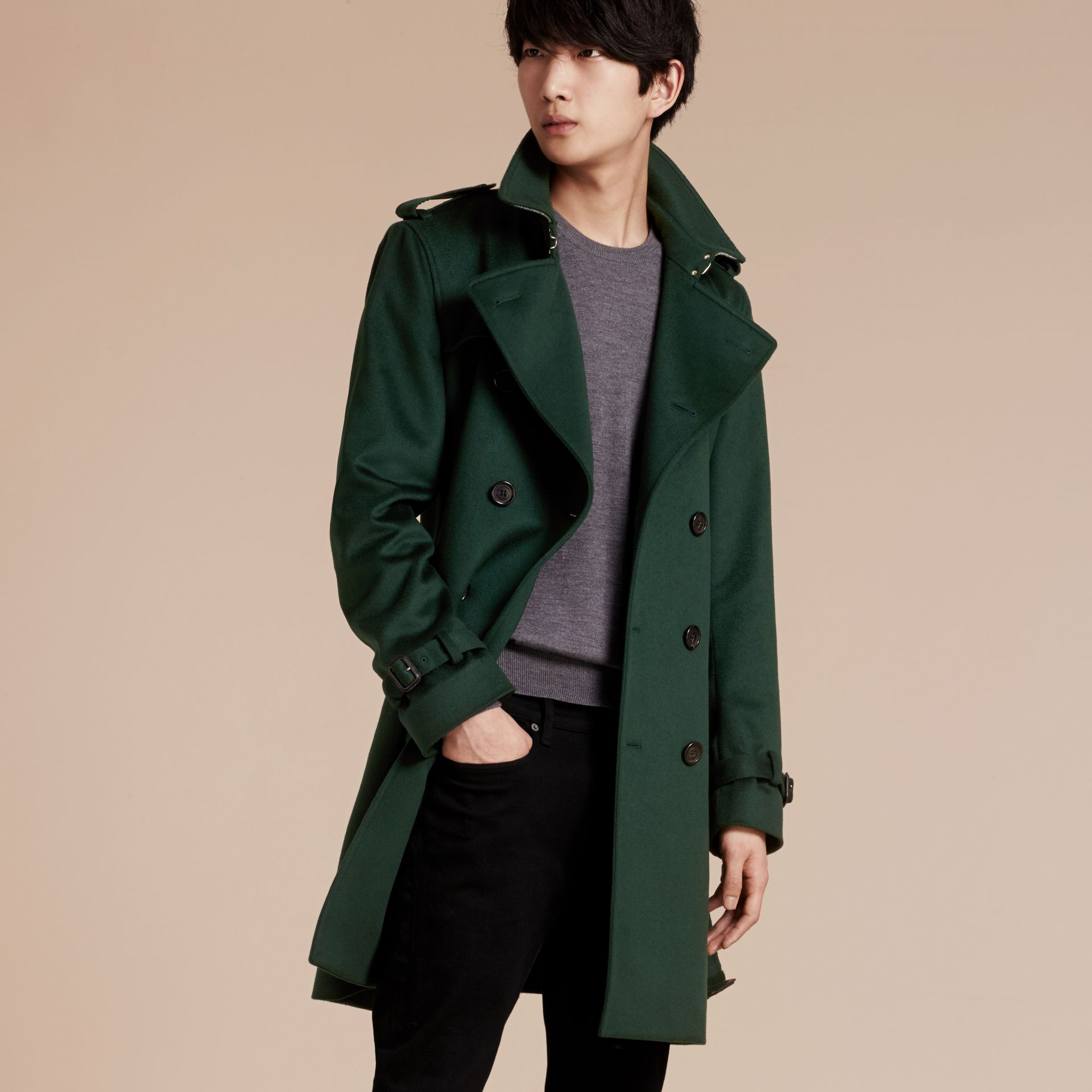 Dark military green Cashmere Trench Coat Dark Military Green - gallery image 7
