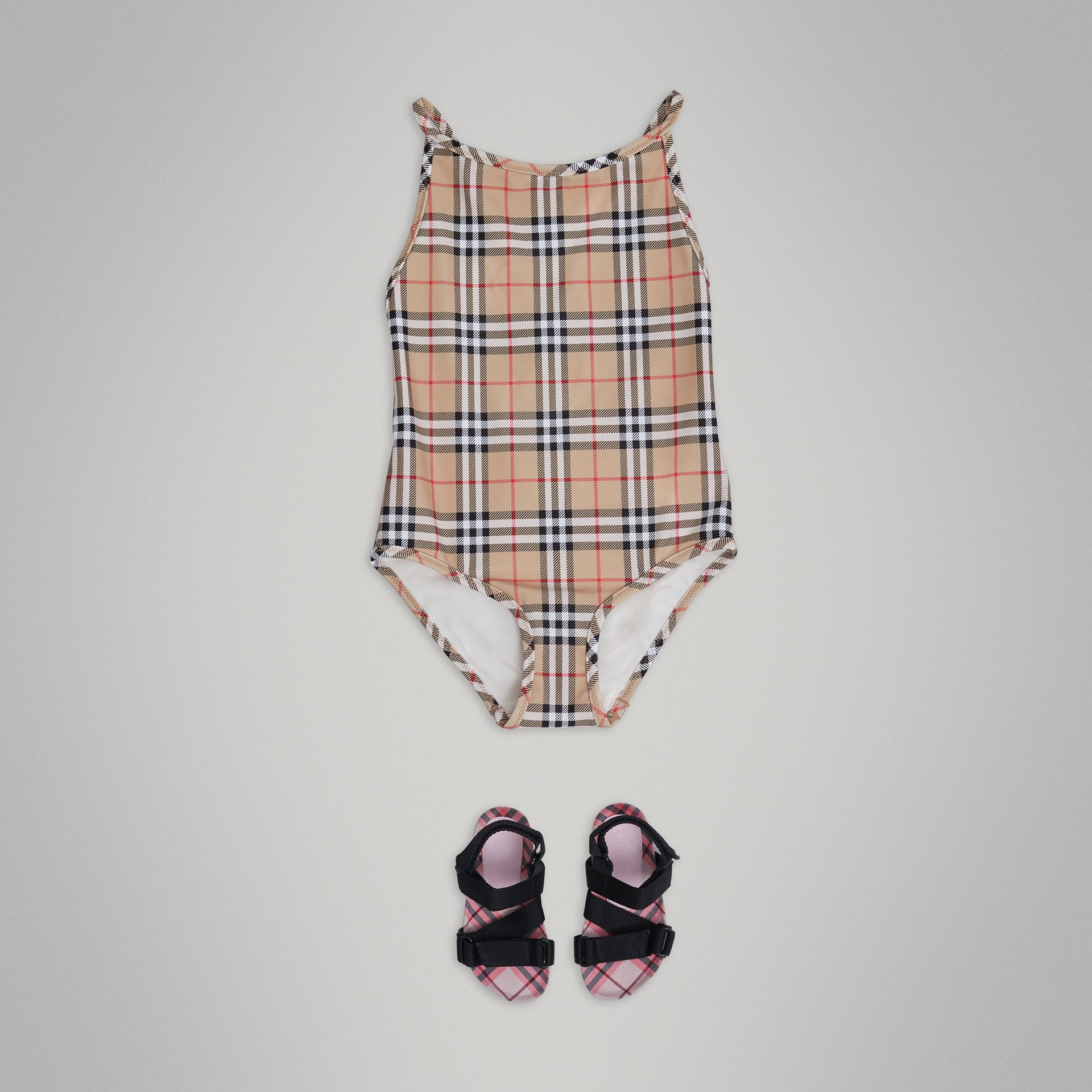 Vintage Check One-piece Swimsuit in Camel - Girl | Burberry - gallery image 0