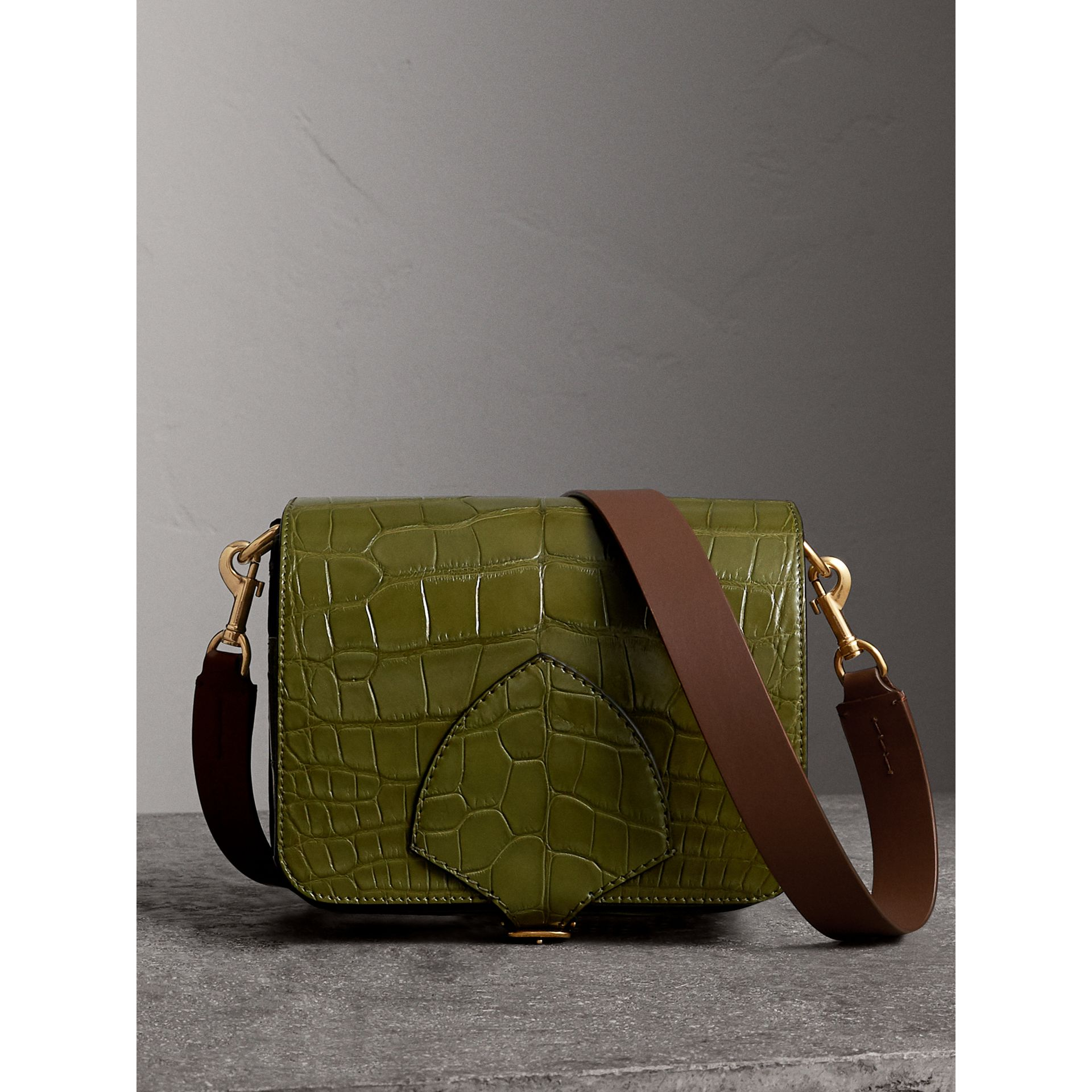 The Square Satchel in Alligator in Dark Antique Green - Women | Burberry - gallery image 1