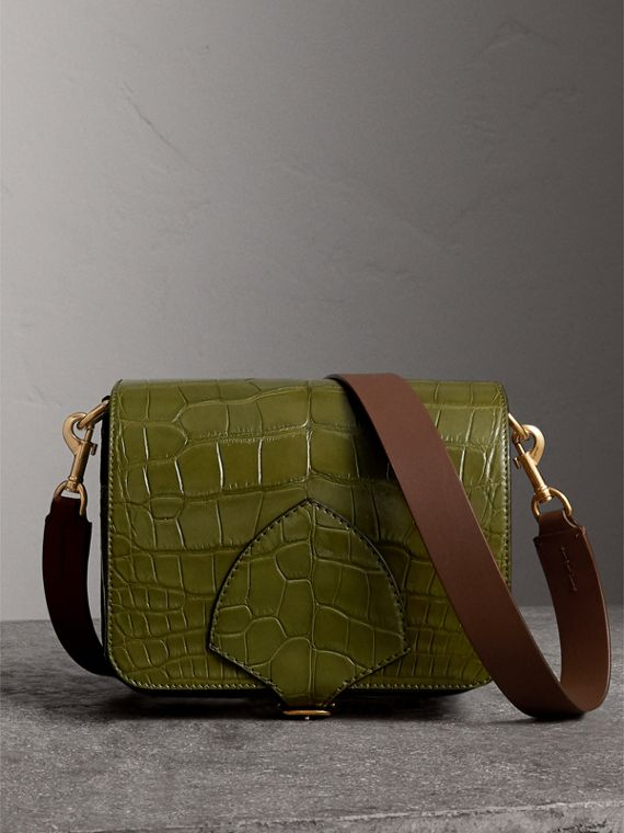 Sac The Satchel carré en alligator (Vert Antique Sombre)