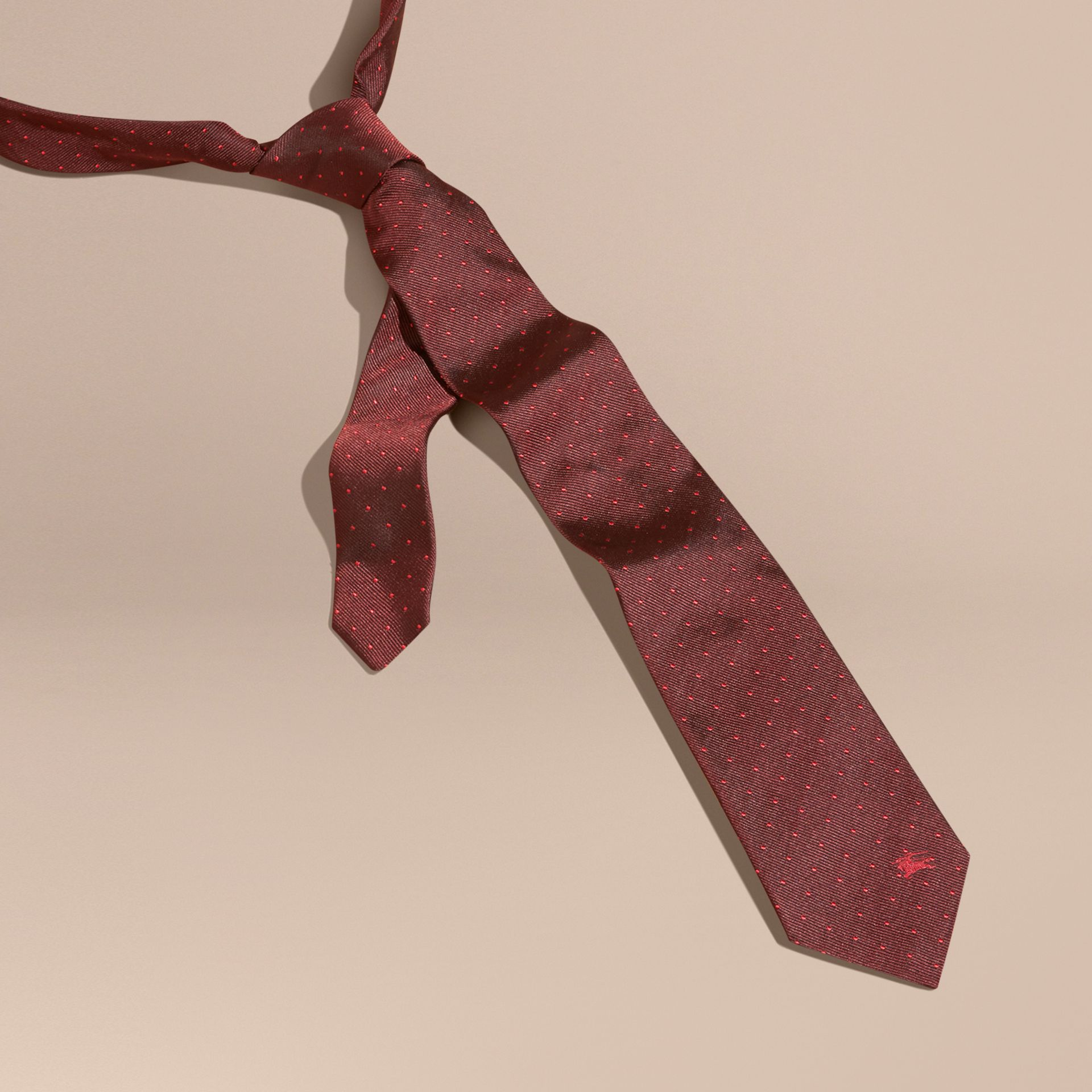 Deep claret Modern Cut Polka Dot Silk Tie Deep Claret - gallery image 3
