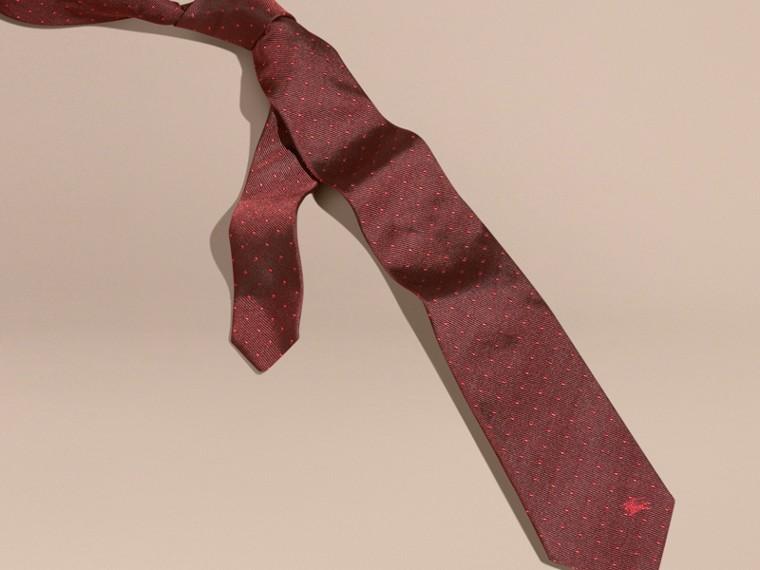 Deep claret Modern Cut Polka Dot Silk Tie - cell image 2