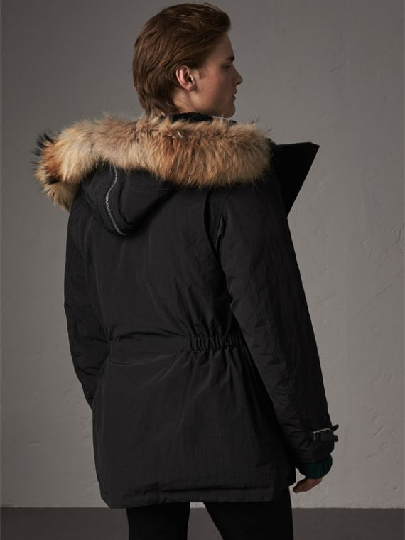 Raccoon Fur Trim Shearling Hood Down-filled Parka in Black - Men | Burberry Canada - cell image 2