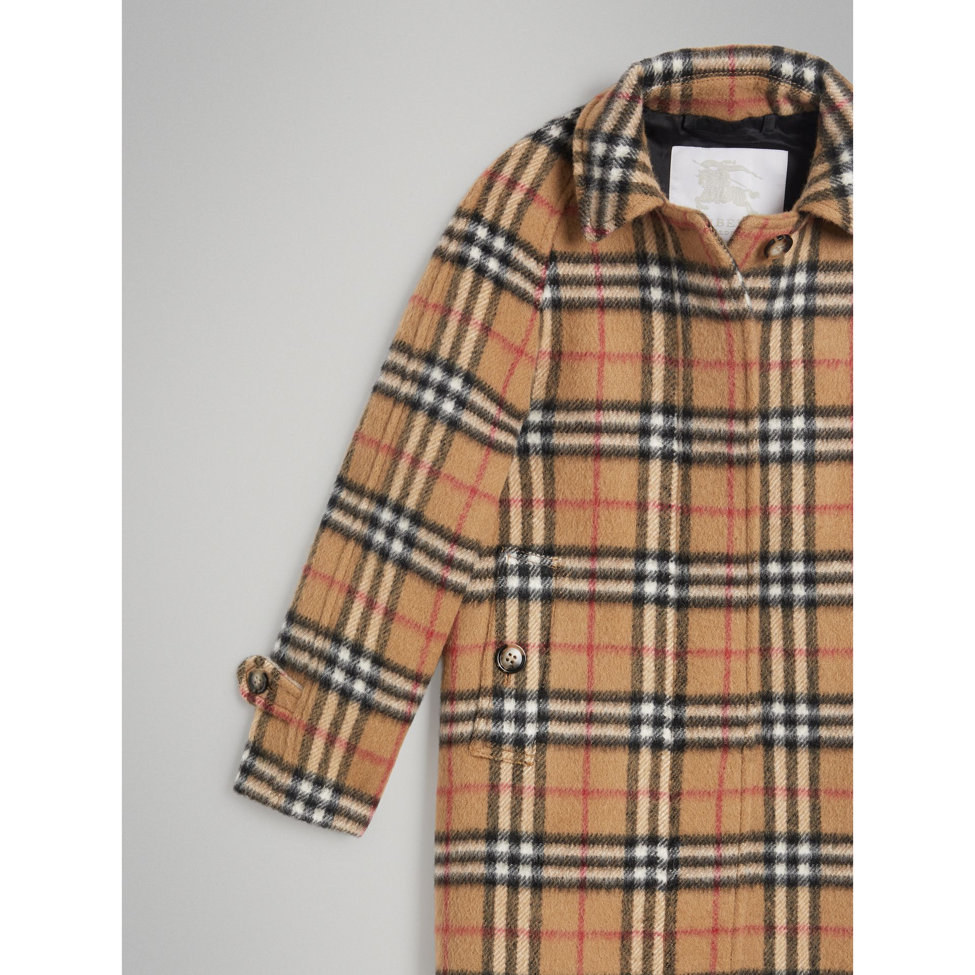 Vintage Check Alpaca Wool Blend Car Coat in Antique Yellow - Girl | Burberry - gallery image 4