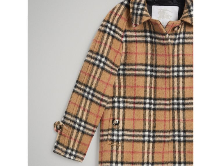 Vintage Check Alpaca Wool Blend Car Coat in Antique Yellow - Girl | Burberry - cell image 4