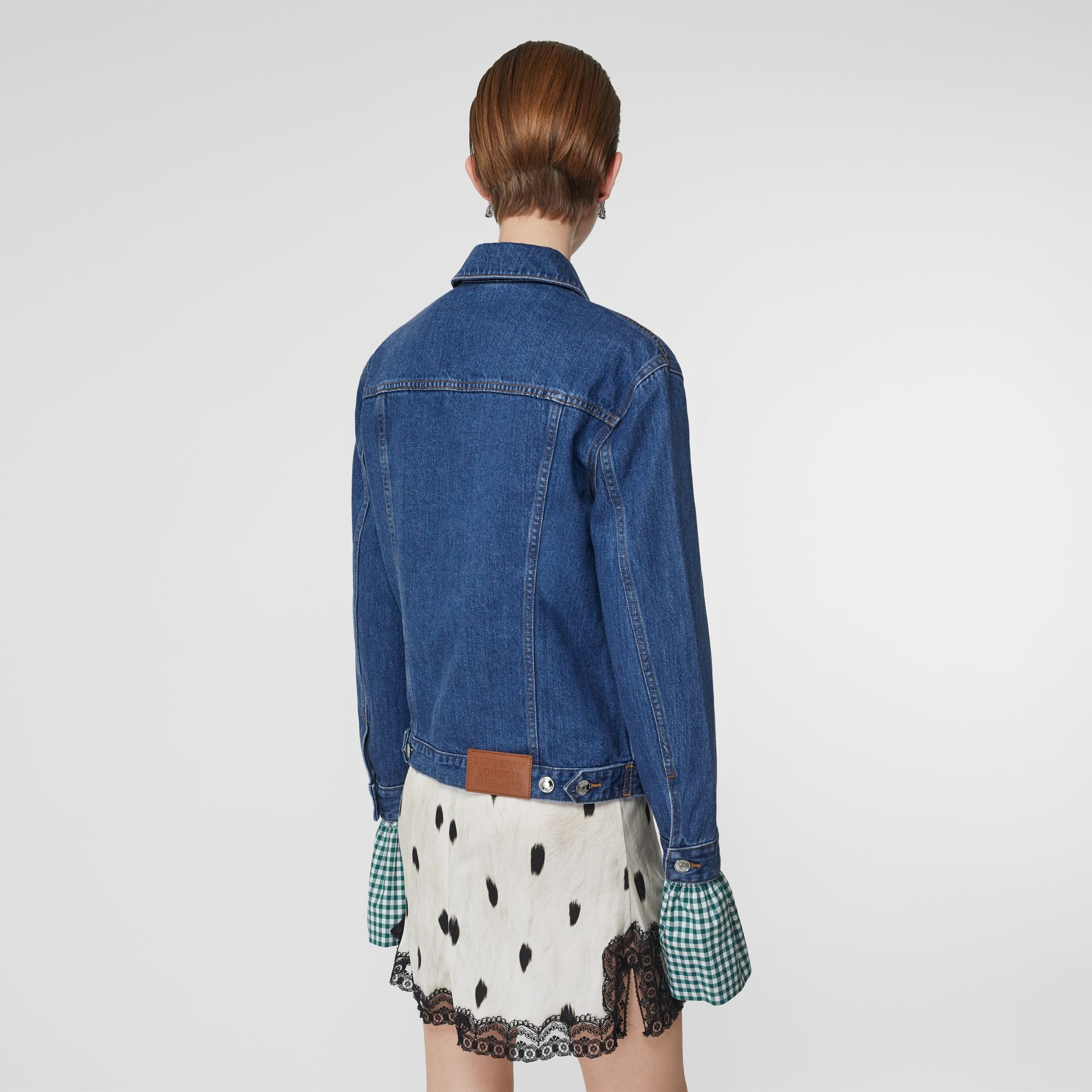 Deer Motif Japanese Denim Jacket in Mid Blue - Women | Burberry - gallery image 2