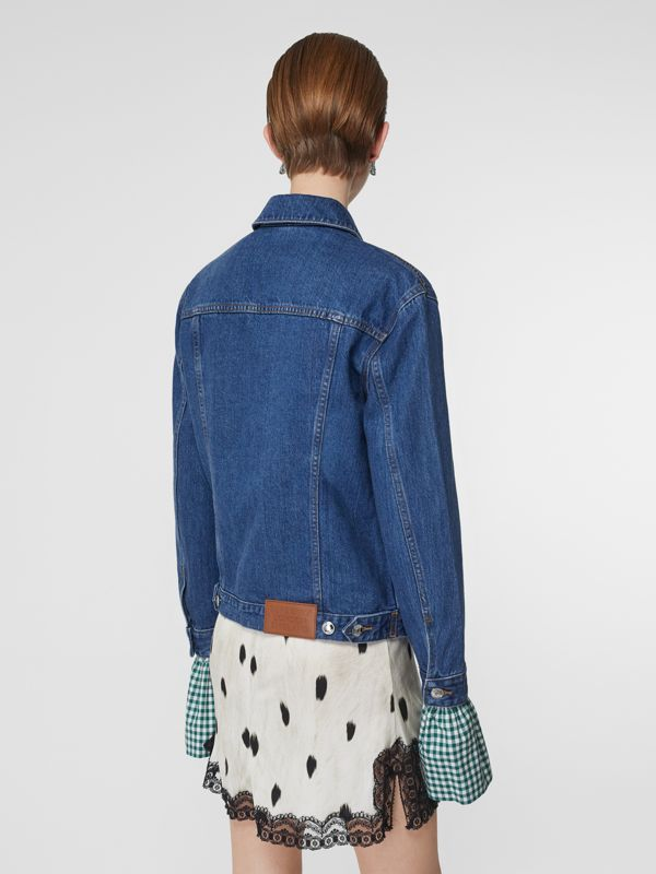 Deer Motif Japanese Denim Jacket in Mid Blue - Women | Burberry Singapore - cell image 2