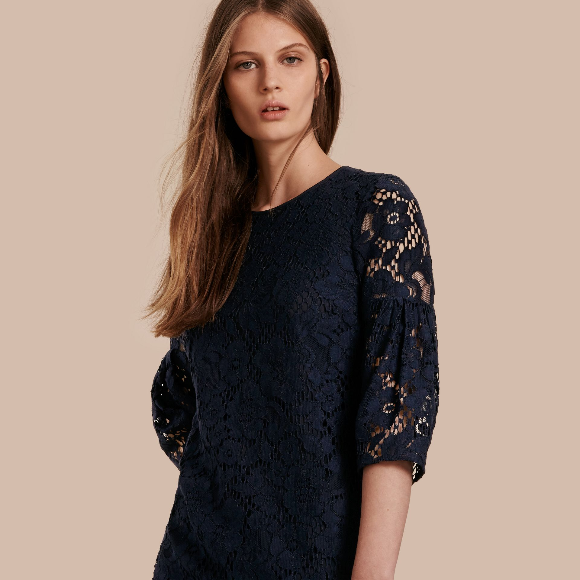 Navy Puff-sleeved Floral Lace Shift Dress - gallery image 1
