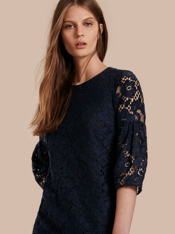Puff-sleeved Floral Lace Shift Dress Navy
