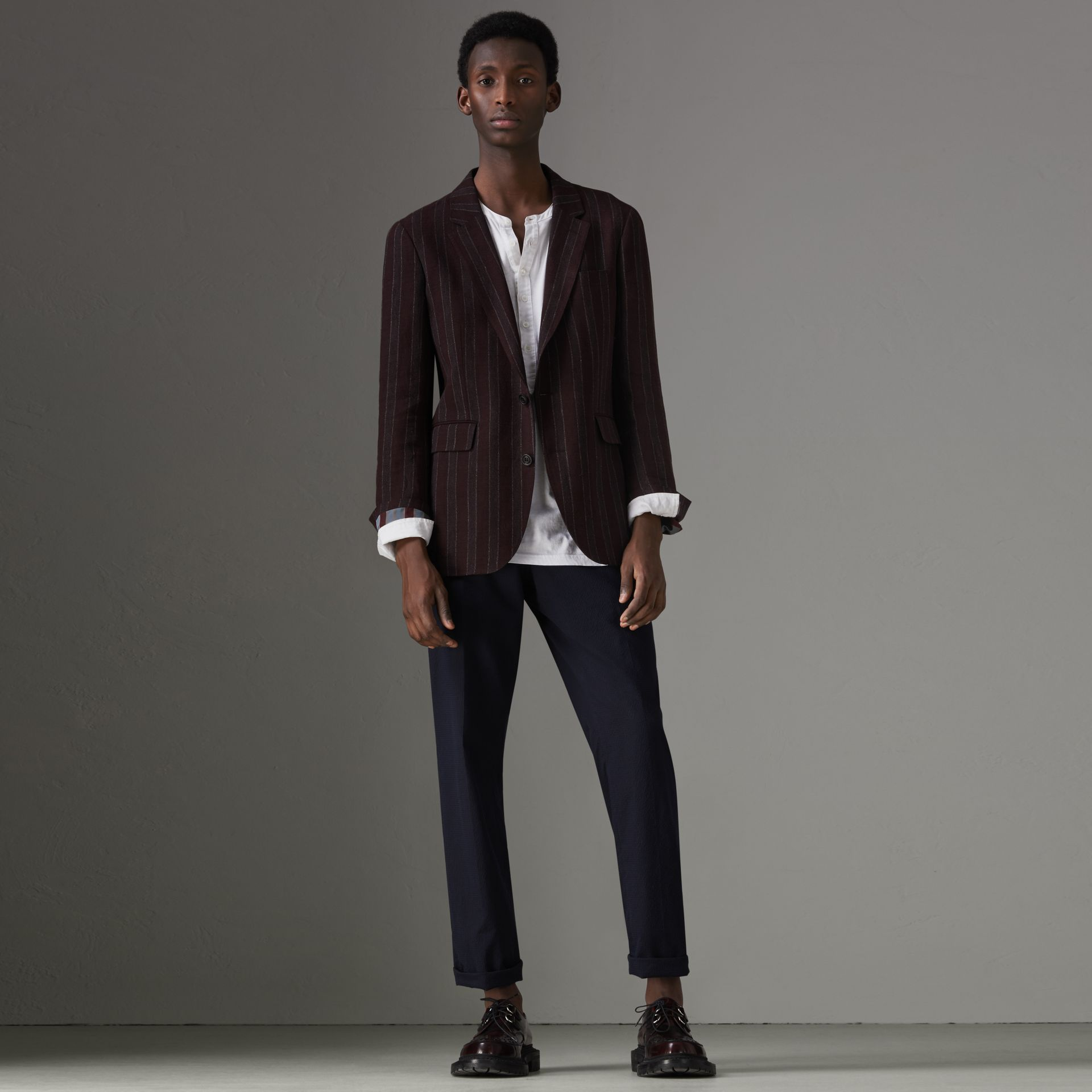 Soho Fit Striped Linen Tailored Jacket in Burgundy - Men | Burberry Canada - gallery image 0
