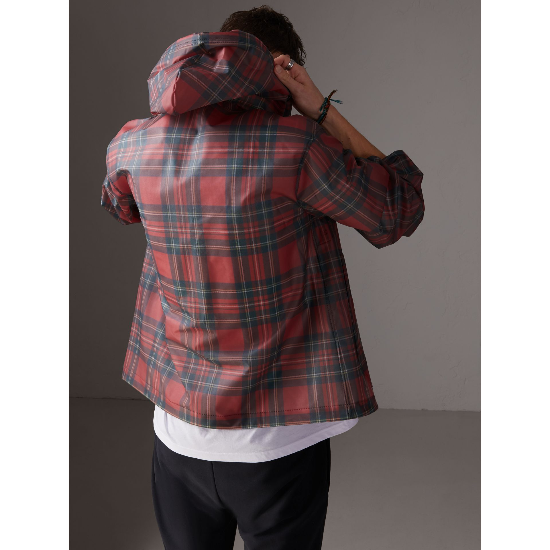 Tartan Soft-touch Plastic Cagoule in Bright Red - Men | Burberry - gallery image 2