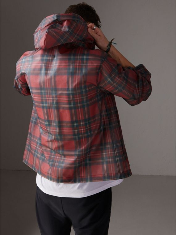 Tartan Soft-touch Plastic Cagoule in Bright Red - Men | Burberry United States - cell image 2