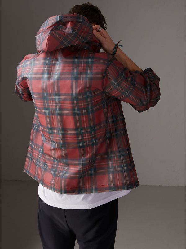 Tartan Soft-touch Plastic Cagoule in Bright Red - Men | Burberry United Kingdom - cell image 2