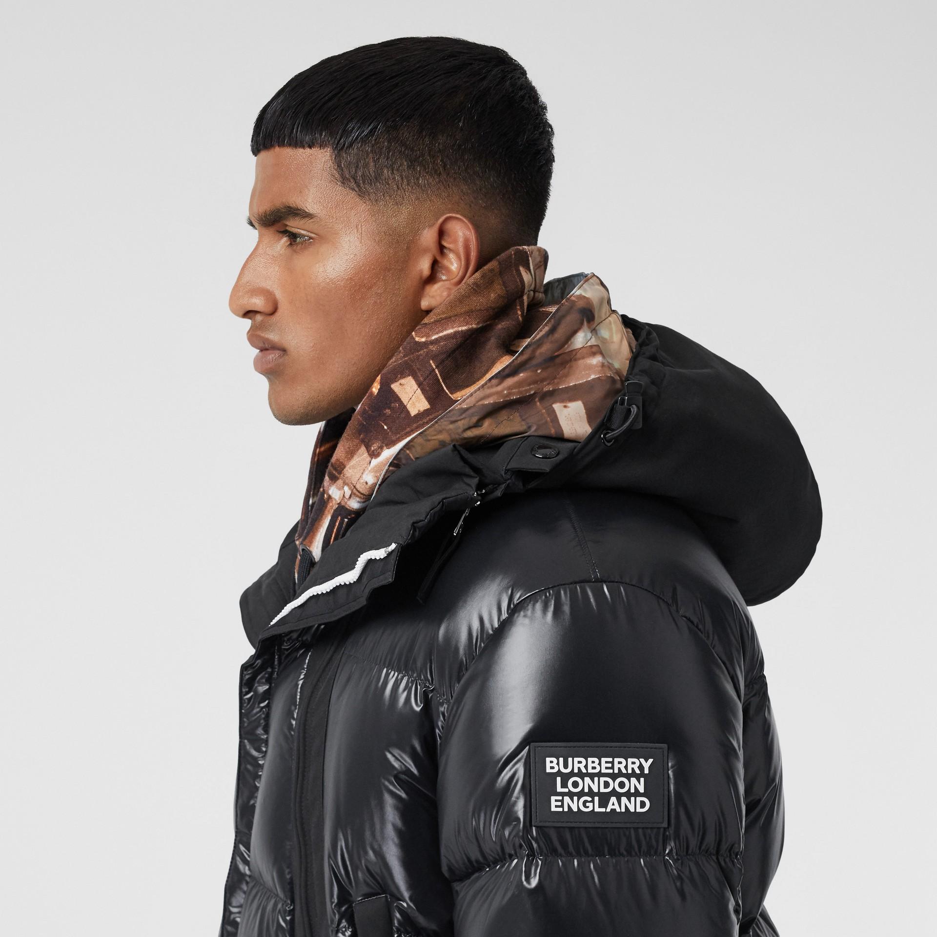 Packaway Hood Puffer Jacket in Black - Men | Burberry - gallery image 7